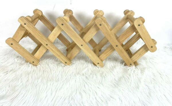 Wood Wine Rack Counter Accordion Wooden Bottles Towels Collapsible Natural