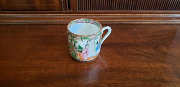 Small Antique Rose Medallion Cup 2 1 4quot; high circa 1870