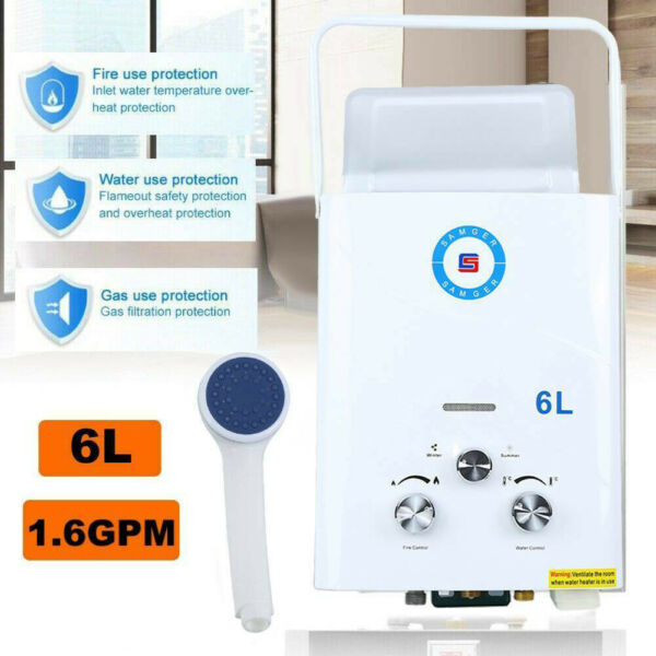 Portable LPG Propane Gas Hot Water Heater 6L Tankless Instant Boiler Outdoor $68.68