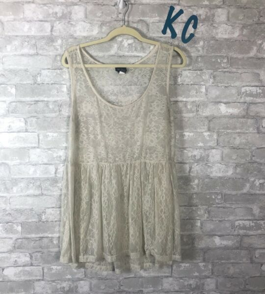 TORRID LACE SHEER TANK TOP FLOWY LONG PEPLUM IVORY SZ 2