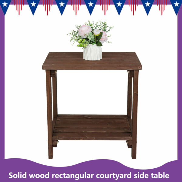 Solid Wood Outdoor Rectangular Courtyard Side Table Light Brown 50*36*50cm New $63.55