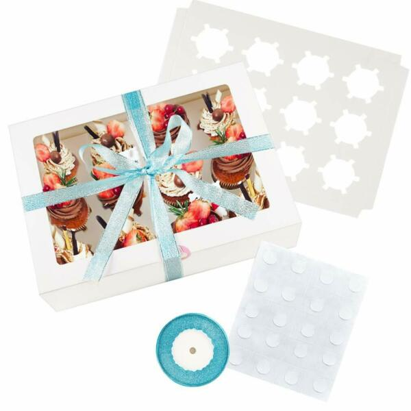 15 Pack Bakery Cupcake Boxes with Window Fits 12 Cupcakes or Muffins