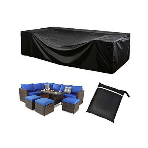 Outdoor Patio Furniture Covers 420D Oxford Polyester Black Large Size Sectional $42.23