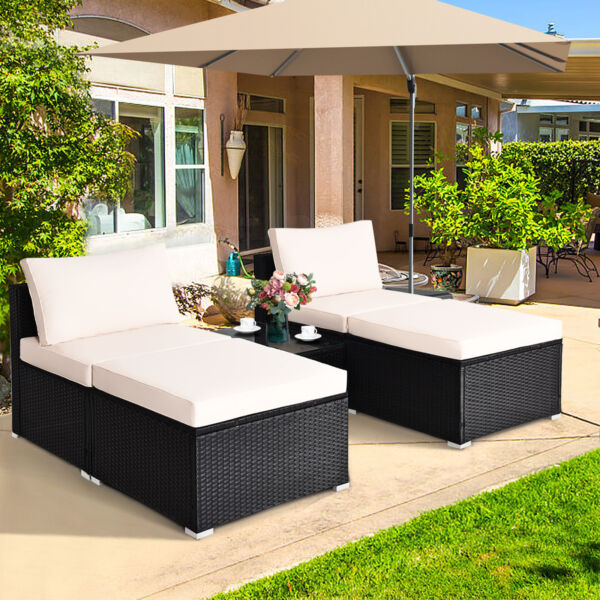5PCS Outdoor Furniture Set Patio Rattan Wicker Armless Chair Ottoman w Cushion $344.99