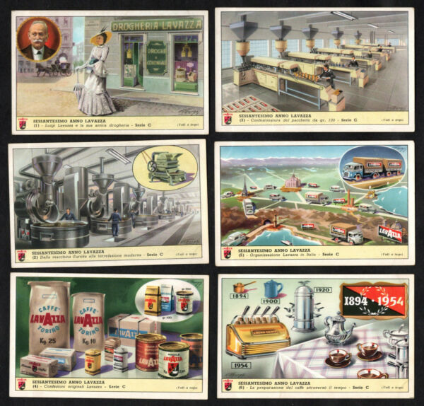 Production of Lavazza Coffee 1894 to 1954 Full Card Set Machine Factory Torino