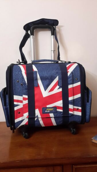 paws wacky dog traveling suitcase with the English flag $30.00