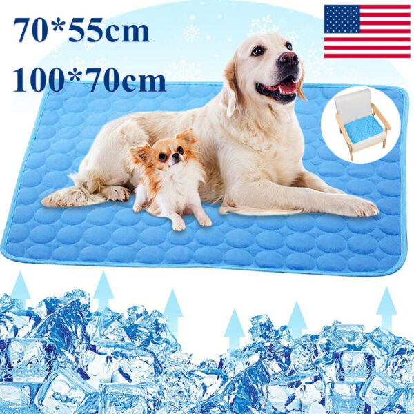 Cooling Mat for Dogs and Cats Self Cooling Dog Bed Summer Sleeping Pad $10.49