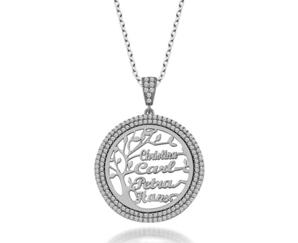 Personalised Sterling Silver Family Tree Necklace Zircon Name Necklace