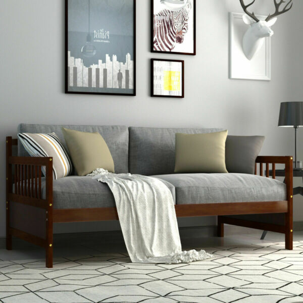 Twin Size Wooden Slats Daybed Bed Sofa Support Platform Sturdy W Rails Espresso $196.59