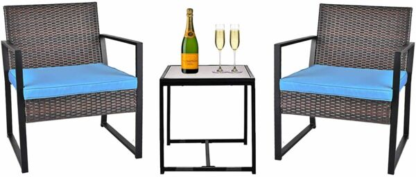 3 Piece Patio Conversation Set Outdoor Wicker Furniture with Glass Coffee Table