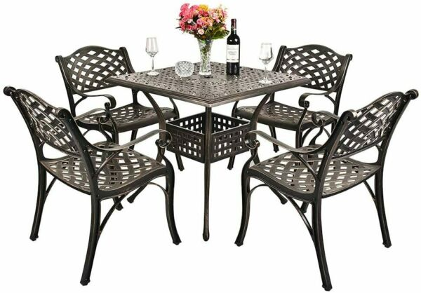 5 Piece Outdoor Furniture Dining Set All Weather Cast Aluminum Conversation Set $539.99