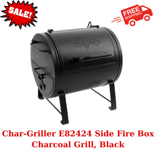 Char Griller E82424 Side Fire Box Charcoal Grill Black Steel Cast iron