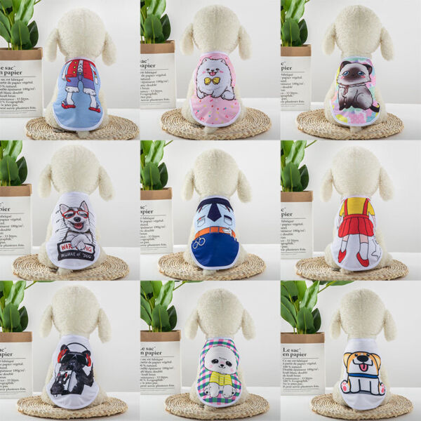 New Cartoon Small Dog Vest Puppy Clothes Breathable Mesh Vest Pet Cat Apparel $5.99