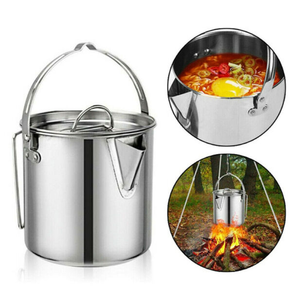 Camping Kettle Stainless Steel Outdoor Cooking Kettle 1.2L Camping Pot Teakettle