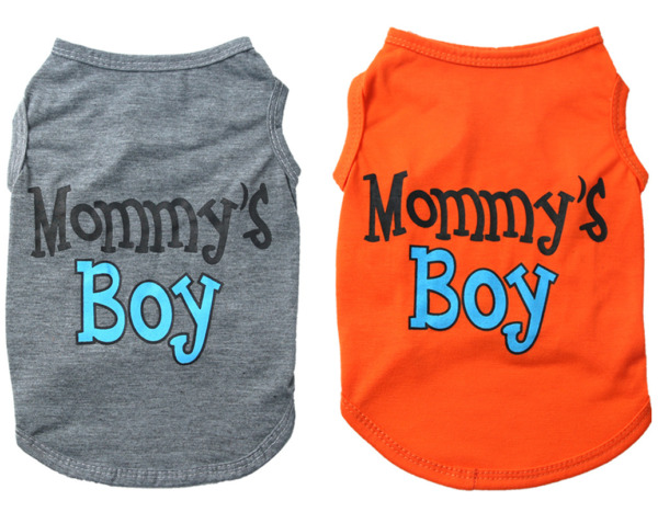 Small Dog Cat Cloth Mommy#x27;s Boy Letter Printing Vest For Puppy Spring And Summer $5.99