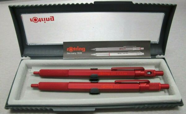 Rotring 600 Set Red Hexagonal Knurled Grip Ballpoint Pen amp; Pencil Set New In Box