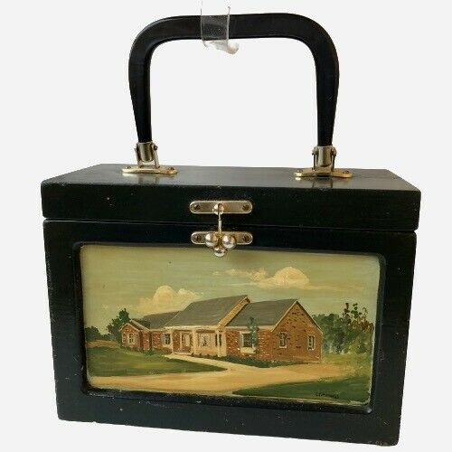 Vintage Wooden Box Purse with Handle Vanity Hand Painted Mississippi College