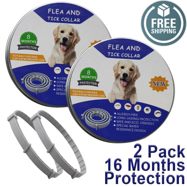 TWO PACK Natural Flea and Tick Collar for Large Dogs 8 Months Control USA 2 ECO $12.90