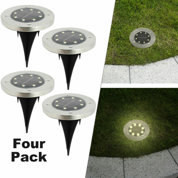 8 LED Solar Power Flat Buried Light In Ground Lamp Outdoor Path Garden Decking $15.99