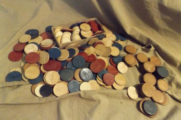 Vintage Antique Clay Poker Chips Biplane Wood Motor Boat 3 Colors 2 Sizes 4 lbs $15.99
