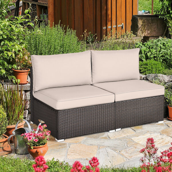 2PCS Wicker Patio Sectional Armless Sofa Outdoor Rattan Furniture Set w Cushion
