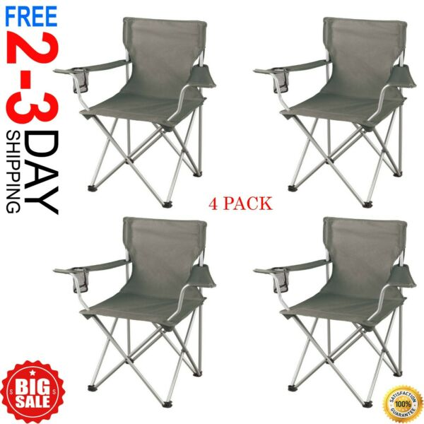 Folding Camp Chairs w Mesh Cup Holder Set of 4 Arm Chair Sporting Event Picnic