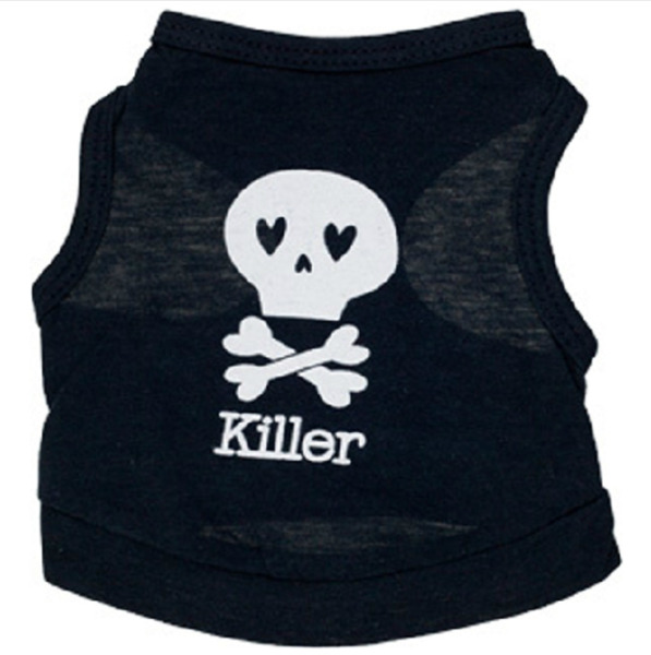Dogs Cat Clothes With Skull And Killer Printing Vest For Spring And Summer Puppy $5.25