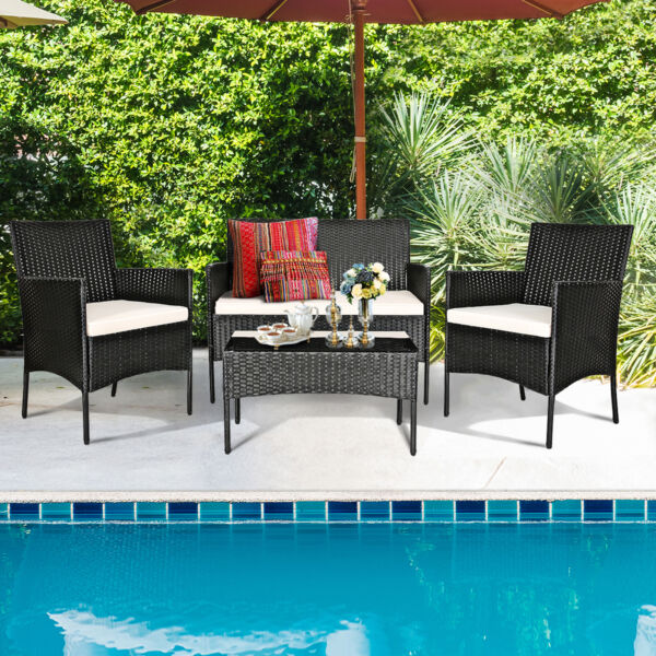 4PCS Rattan Wicker Patio Conversation Set Outdoor Furniture Set Garden Cushion $294.99