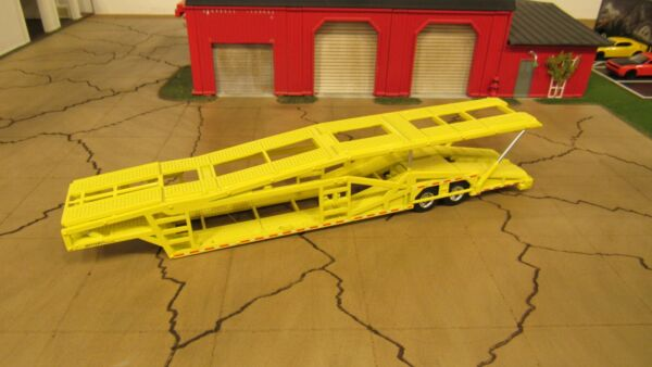 USED LOOSE LIME YELLOW 5 CAR TRANSPORT TRANSPORTER CARRIER TRAILER 1:64 SPECCAST $44.95