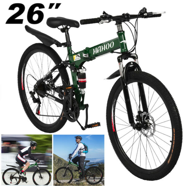 26quot; Folding Mountain Bike Shimano 21Speed Bicycle Front suspension MTB Men Women $189.98