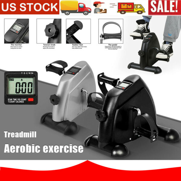 Mini Pedal Stepper Bike Indoor Exercise Cycle Fitness 4 Leg LCD Display Home New $21.99