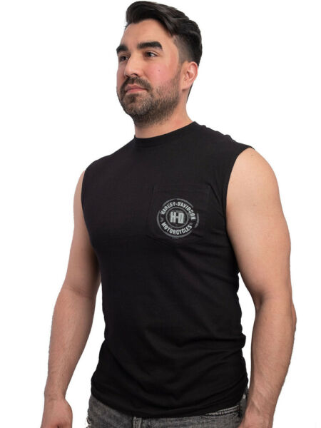 Harley Davidson Mens Black Heat H D Pocket Sleeveless Muscle T Shirt