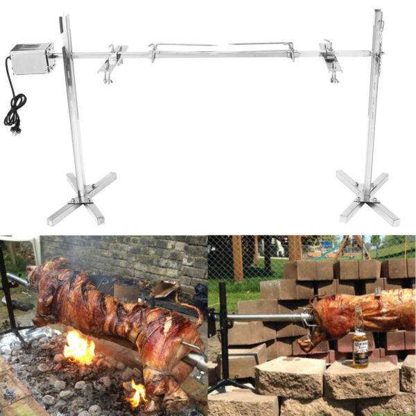 BBQ Rotisserie Grill Spit Roaster Tripod 15W Motor Stainless Cooking Lamb Skewer