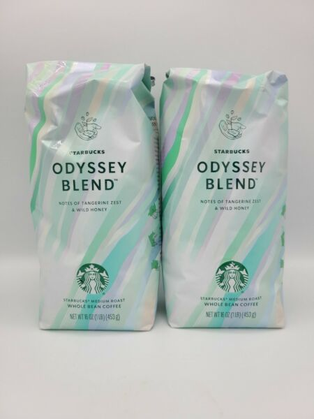 2 Starbucks Whole Bean Coffee Odyssey Blend 16oz Bags New Factory Sealed