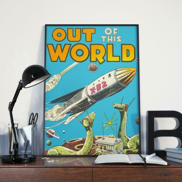 Retro Poster Featuring Spaceship And Dinosaurs Wearing Headphones Art Print $17.80