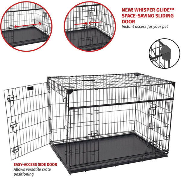 """36"""" Dog Crate Double Door w Divider w Tray Folding Heavy Duty Metal Pet Cage L"""