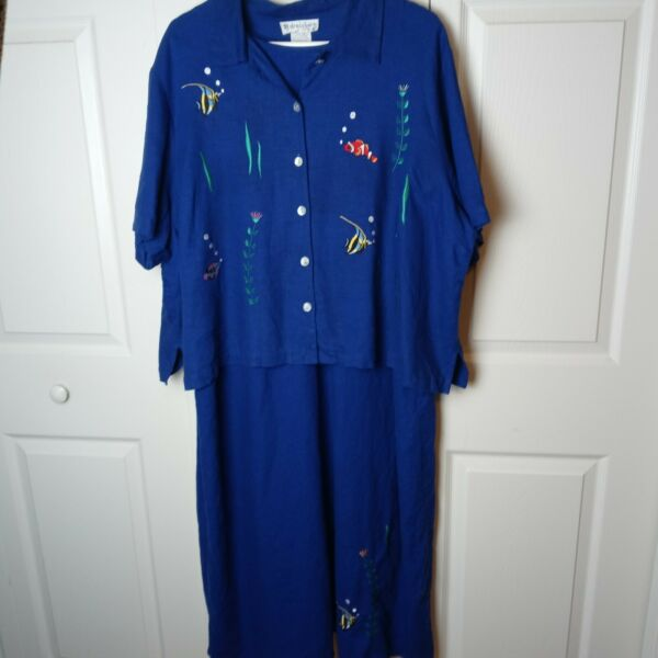 Dress Barn Maxi Dress With Top 22W Purple Embroidered Tropical Fish 55% Linen $27.97