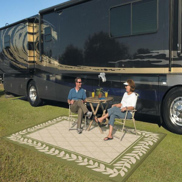 Camping Outdoor Patio Mats 9x12 Reversible Classic Leaf RV Rugs