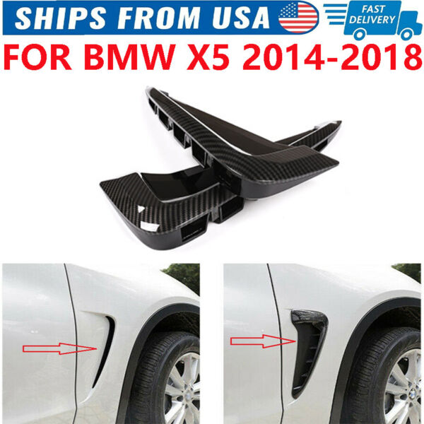 Side Marker Fender Air Wing Vent Trim M Cover Carbon For BMW F15 X5 X5 35I 2014 $28.99