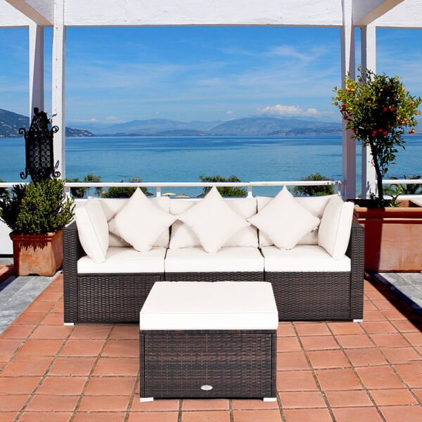 4PCS Rattan Wicker Patio Sofa Conversation Set Outdoor Furniture Set w Cushion $429.99