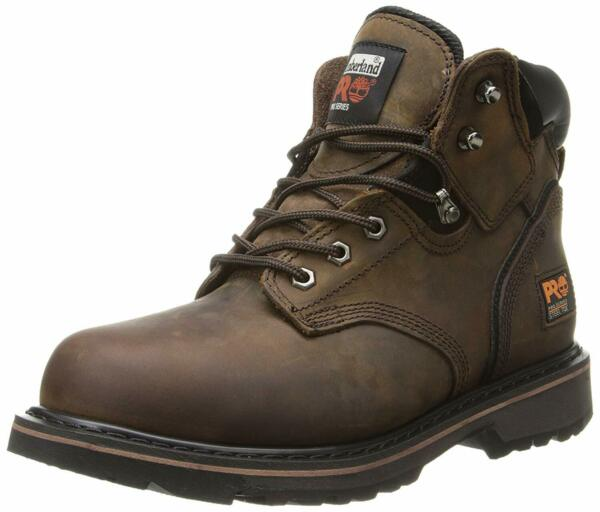 Timberland Mens Pit Boss Leather Steel toe Lace Up Safety Shoes Brown Size mK $52.15