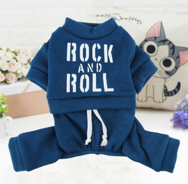 New Dog Blue Clothes 4 legged Jumpsuit With ROCK AND ROLL Printing For Small Dog $9.99