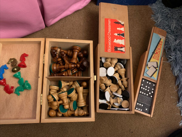 Vintage Boxes Of Chessamp;Dominoes