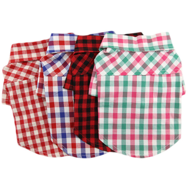 New Pet 2 legged Clothes Multi colored Grid Shirt For Small Dog Teddy Cat Summer $8.99