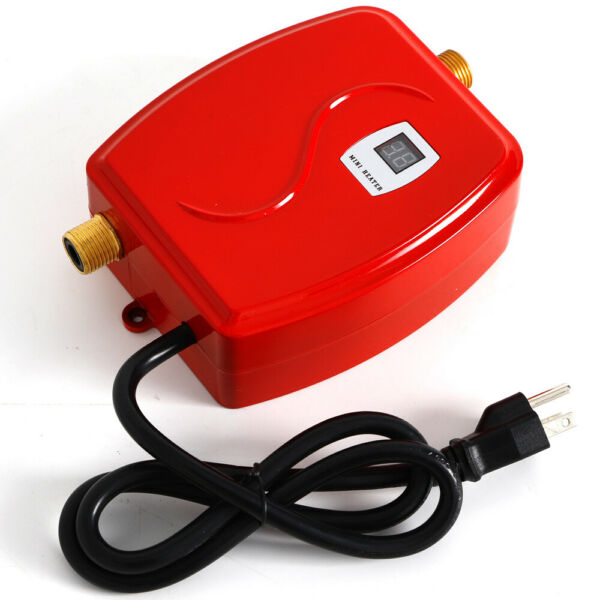 Electric Water Heater Tankless Mini Instant Kitchen Washing 3000W 110V Red Color $53.02
