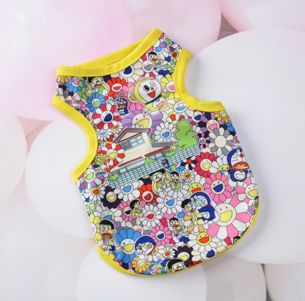 Dog Pet Clothes Breathable Comfortable Mesh Vest Lovely Cartoon Sunflower Print $5.99