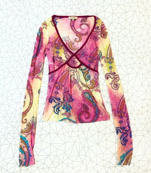 Womens Etro Milano Silk Long Sleeve Top C $65.00