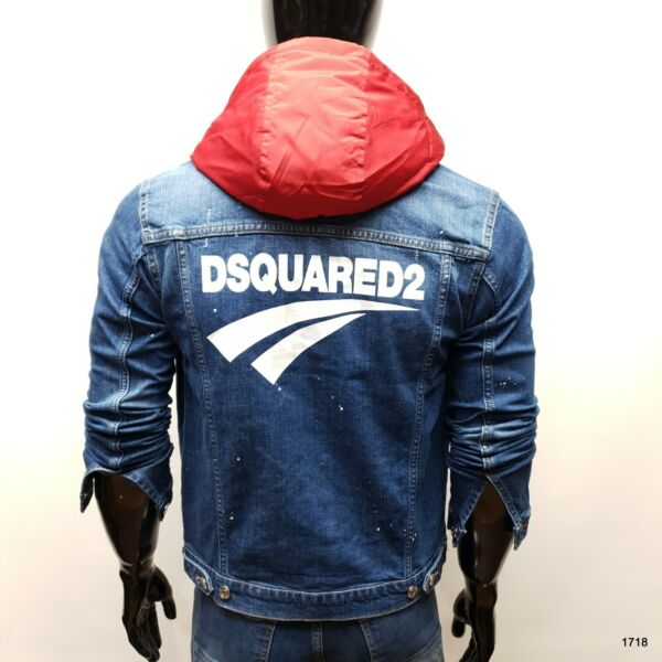 NEW Dsquared2 Detachable Hood Men#x27;s Slim Fit Stretchy Blue Jacket Jeans GBP 69.00