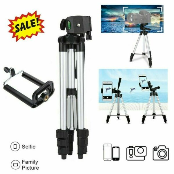 Universal Tripod Stand Adjustable Phone Holder Mount For iPhone Samsung Camera