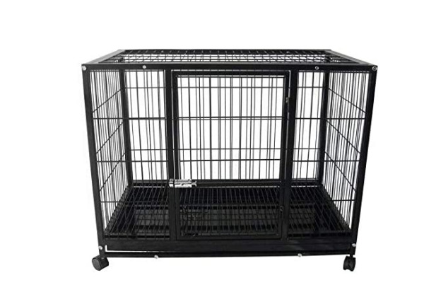 37'' Black Heavy Duty Sturdy Dog cage Double Door Designed With Four Rollers